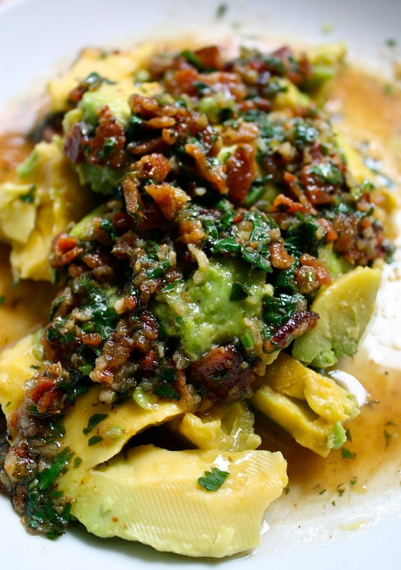 Avocado-with-Warm-Bacon-Cilantro-Dressing