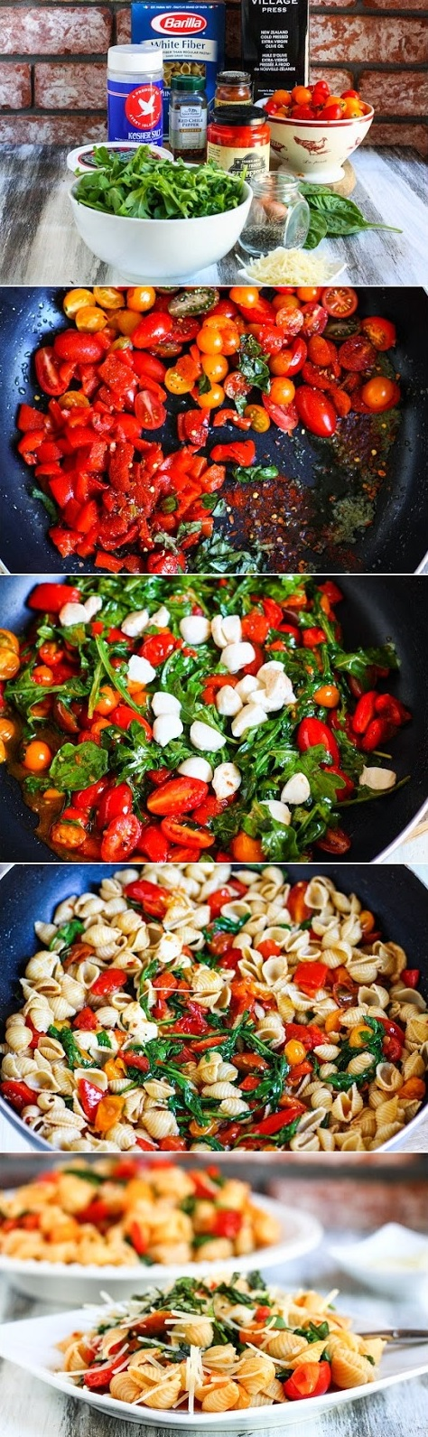 Tomato, Roasted Pepper and Arugula Pasta